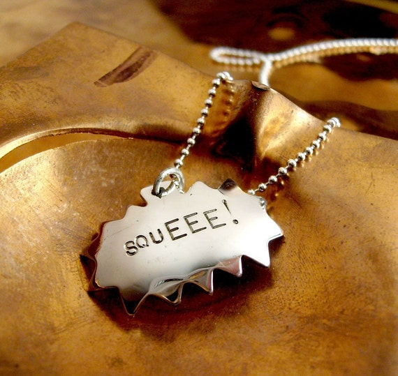 squEEE - Comic Book Charm Necklace on 18 inch  ball chain - Recycled sterling silver