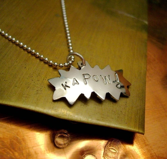 kaPoW -- Comic Book Charm Superhero Batman necklace on 18in  Ball Chain - Recycled sterling silver