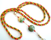 Hand Braided and Beaded id Badge Lanyard  - Fall Harvest