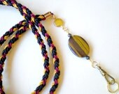 Hand Braided Beaded id Badge Lanyard - Natural Tiger Iron Stone