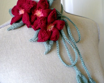 Hand Knit Necklace / Fibre Art Neckwear / Headband / Bracelet / Belt - Dark Red Plumeria