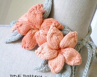 PDF Knit Flower Pattern - Plumeria Lariat