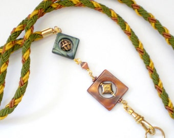 Hand Braided and Beaded id Badge Lanyard - Forest Tones