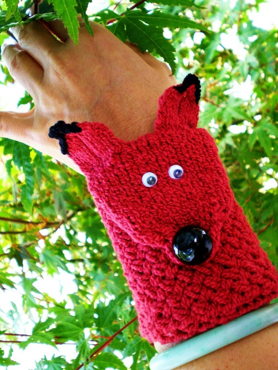 Hand Knit Cuff Wallet / Carry ID Case / Cozy (for MP3, iPods, Cell Phones, ID, etc.) Red Fox