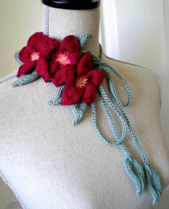 Hand Knit Necklace / Fibre Art Neckwear / Headband / Bracelet / Belt - Dark Red Plumeria