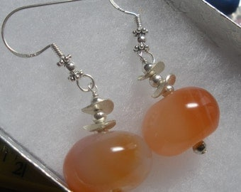 Red Agate Earrings with sterling silver disks and round beads