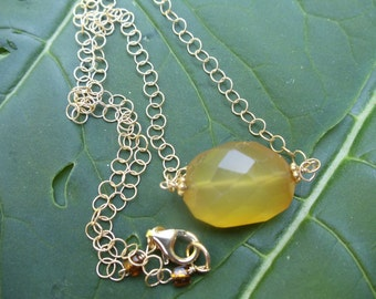 Honey Yellow chalcedony faceted freeform nugget on gold chain necklace