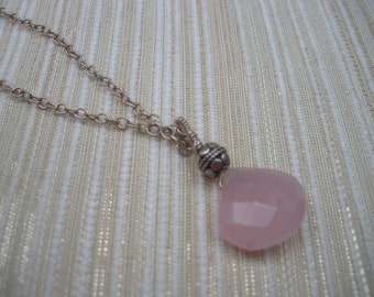 PInk Chalcedony and Bali Silver bead wirewrapped handmade pendant on sterling silver chain  OOAK