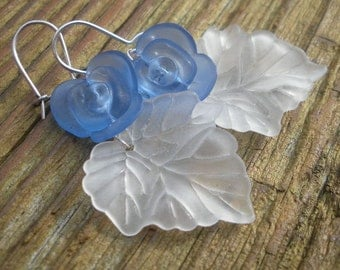 Blue Rose and Frosty Leaf Winter Fantazy Fun earrings