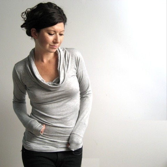 Heather Grey Long Sleeve Top, Cowl Shirt, Womens Blouse, Modal Tunic, Custom Made to Order