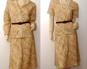 MARY TYLER MOORE . 1970s 3 piece  floral dress . Medium