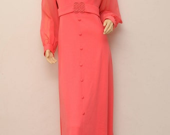 CARMINE PINK . vintage 60s to 70s . empire long dress . medium to large