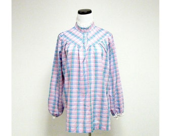 vintage PLAID RUFFLES long sleeve top . size 6  .  made in USA