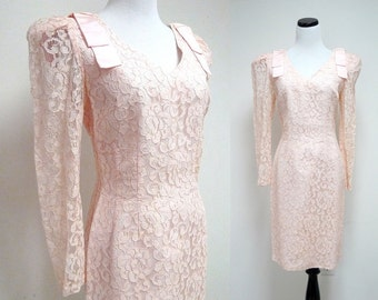 vintage DEAR JOAN pink lacy dress . Size 7 - 8  .  made in USA