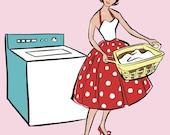 Laundry Room Print, 50's Fashionista,  Mid Century, fifties, washing, 8x10, red, polka dot,