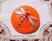 Tropical Mango Blue Winged Dragonfly Czech Glass Button