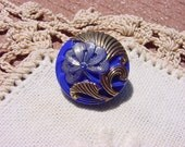 Czech Glass Button Royal Blue Metallic Gingko Flower