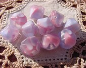 Baby Blue Rose Pink Givre Nugget Vintage Glass Beads
