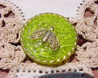 Chartreuse Floral Golden 'Cute As A Bug' Fly Czech Glass Button