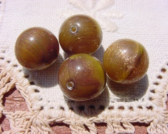 Chartreuse Aventurine Spheres Vintage Glass Beads