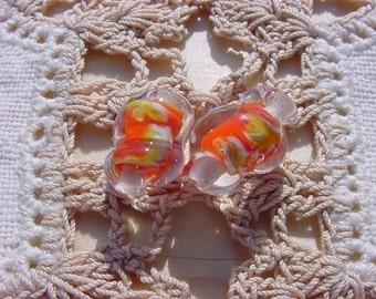 Citrus Orange Encased Snails RARE Millefiori Vintage Glass Beads