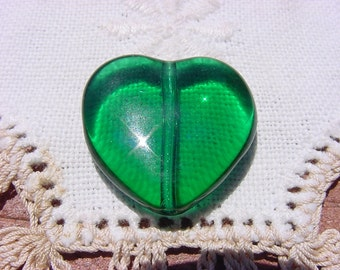 Green With Envy Heart Vintage Glass Focal Bead Pendant