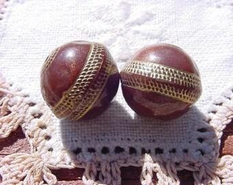Mahogany Glitter Golden Roped Vintage Lucite Beads