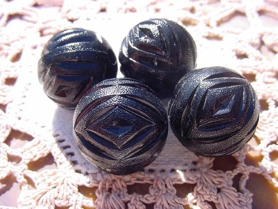 Glossy Black Geometric Cut Outs Vintage Lucite Beads