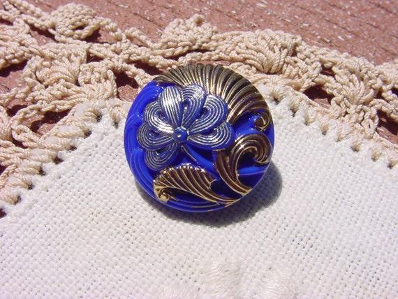 Czech Glass Button Royal Blue Metallic Gingko Flower