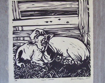 Twin Lambs - Original Linocut