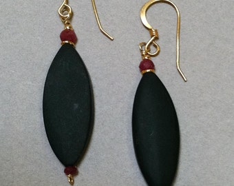 Black Onyx and Ruby earrings with 18k gold beads and wires