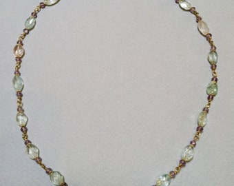 Aquamarine and Amethyst Necklace linked together with 18k gold wire.