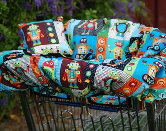 Shopping Cart Cover - Custom Boutique shopping Cart Cover for Boy or Girl -  Robots with stripes