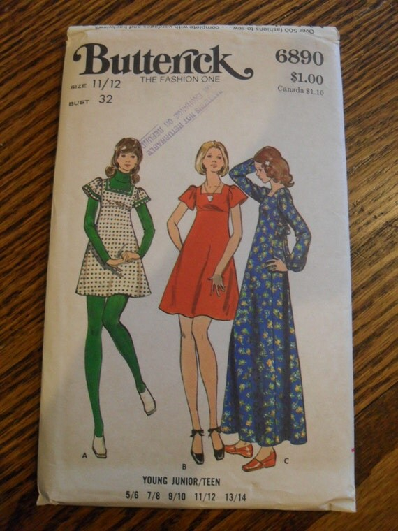 vintage Butterick 6890  pattern - 1070s Young Junior Teen Boho Dress