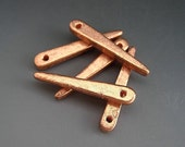 Bright Copper Spike Thorn Dagger Pendant Mykonos Greek Ceramic Beads 30mm