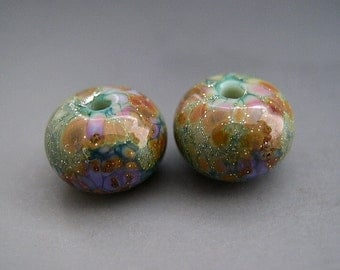 Naos Glass - GLOSSY Lily Pad Gardens Pair Made To Order Handmade Lampwork Beads SRA Teal Purple Green
