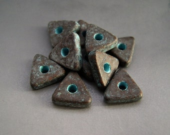 Mykonos Greek Ceramic Beads (10) - Antiqued Green Patina Copper Flat Triangles Spacers - 10mm