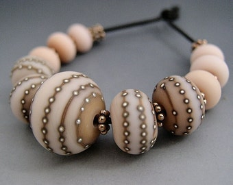 Naos Glass Codex Set Made To Order Handmade Lampwork Beads SRA Powder Soft Pink Caramel Fine Silver Rondelle Set