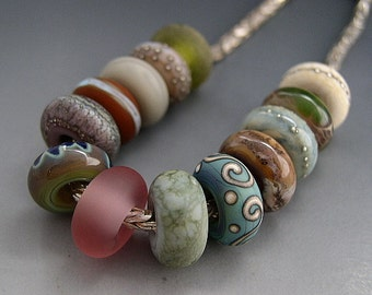 Naos Indian Summer Made To Order BIG HOLE Large Hole Glass Bead Set Purple Blue Turquoise Pink Green Cream Handmade Lampwork SRA