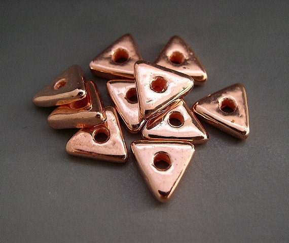 10mm Triangle Beads Spacers Bright Copper Mykonos Greek Ceramic Naos