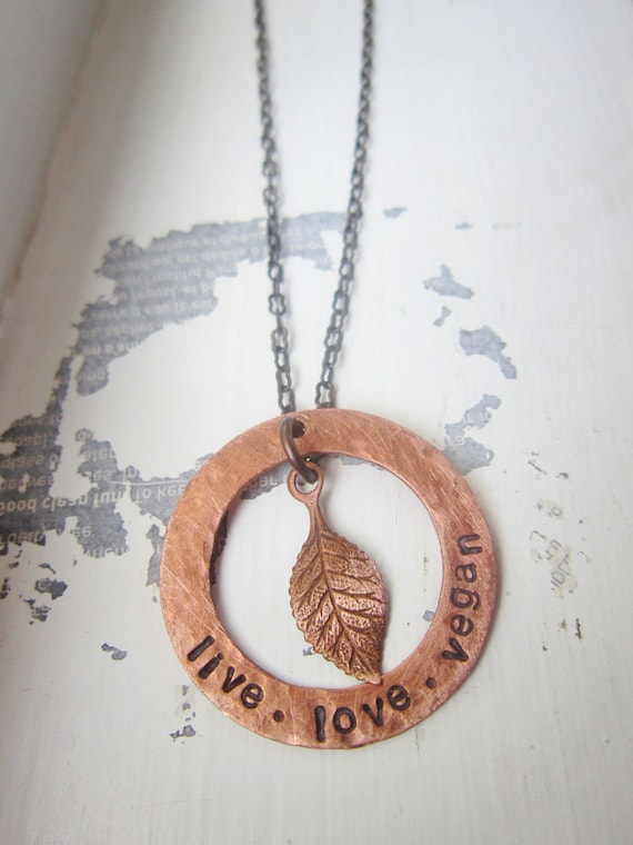 Copper and Antique Brass Leaf Vegan or Live Love Paleo Necklace