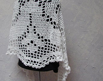 Shawl Hand Crocheted White Crochet Lace Shawl Wrap Scarf