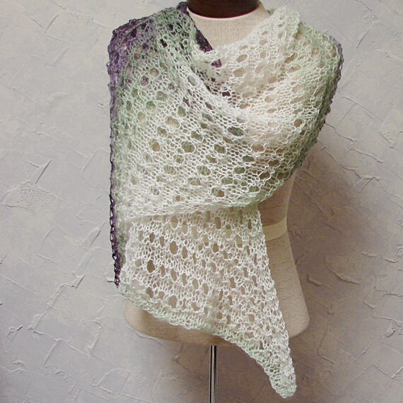 Shawl Hand Knit Lace Shawl and, or, Scarf, purple, green and white