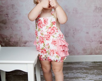 Ruffled Romper Pattern, Girls Romper Pattern - sizes 2 - 6