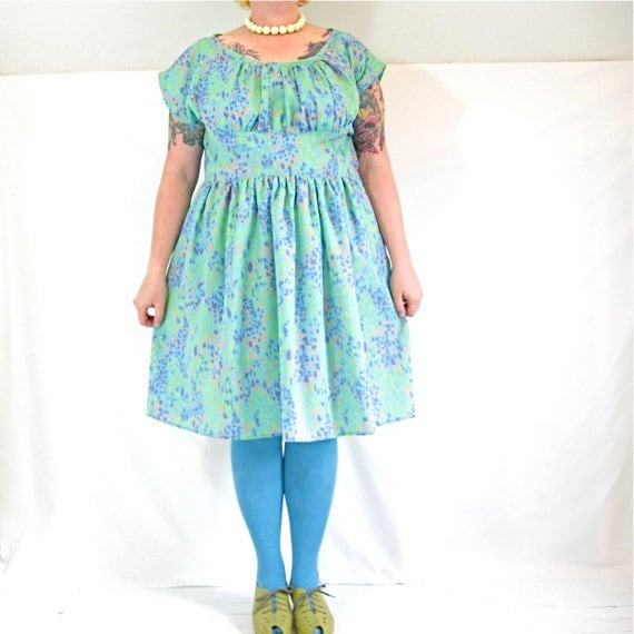 Frolic (in aqua dots) Dress - plus size - bright print vintage cotton-blend fabric - 50B-42W-72H