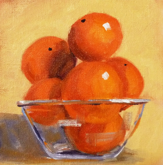 Still Life Oil Painting, Tangerine Original, Orange Citrus, Small Fruit Painting, 6x6 on Canvas, Kitchen Art, Kitchen Decor, Wall Decor