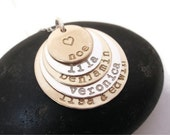 SALE Hand stamped jewelry stacked mixed metal necklace