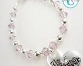 Light pink crystal big sister bracelet -little sister bracelet- jewelry gift girls girl toddler baby silver charm heart custom birthday