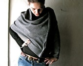 grey poncho, Wool poncho, Felt poncho, Wool cape, Wool cloak, Grey shawl, Winter clothes, Plus size clothing, maternity clothes, Boho poncho