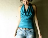 Turquoise Jersey halter top - blue tank top womens tshirt